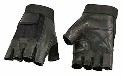 Milwaukee Leather  Men's Leather & Mesh Fingerless Gloves W/ Gel Palm  **SH217