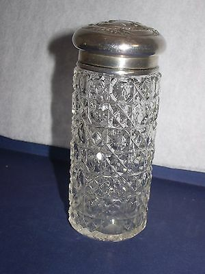 Birmingham England 1901 antique tall jar crystal and sterling lid estate