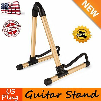 A-Frame Folding Universal Acoustic Electric Bass Gold Guitar Floor Stand Holder