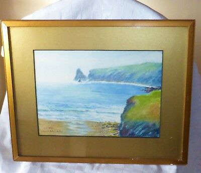 ORIGINAL Signed Watercolour Painting - Coastal Scene by Agnes Augusta Talboys