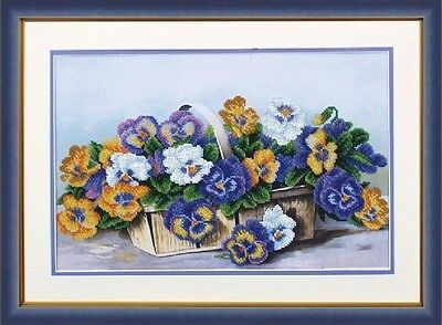 """Bucket of Pansies"" Beaded Embroidery Kit"