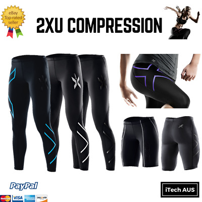 2XU Womens Compression Tights 3/4 Shorts Fitness Sportswear Skins AUS EXPRESS