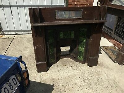 Antique fireplace and Solid Mantle Dated 1904 100 Years Old Cast Iron *2