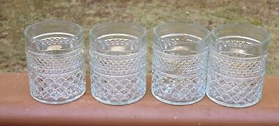 Set of Vintage Anchor Hocking Glass Double Diamond Design Glasses x 4 *Wexford