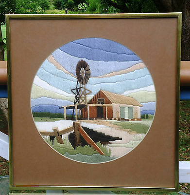 Lovely Vintage Country Style Completed Longstitch Picture *Homestead & Windmill