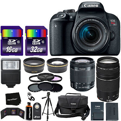 "Canon EOS Rebel T7i DSLR Camera w/ 18-55mm ""STM"" & 75-300mm Lenses +26pc Dlx Kit"