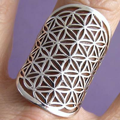 Wide JALI FLOWER OF LIFE Size US 9.75 SilverSari Art Ring Solid 925 Stg Silver