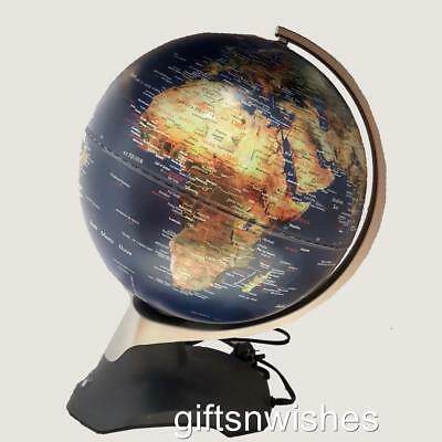 STUNNING Embossed Electric LED Rotating World Globe Table Lamp Home Decor Gift