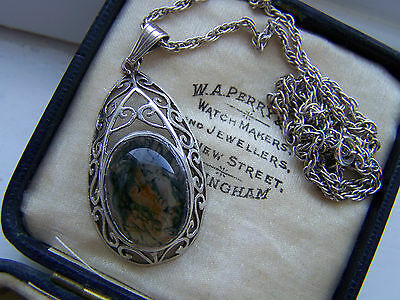 """Vintage Sterling Silver Large Moss Agate Openwork Piersed Pendant 20"""" Chain Rare"""