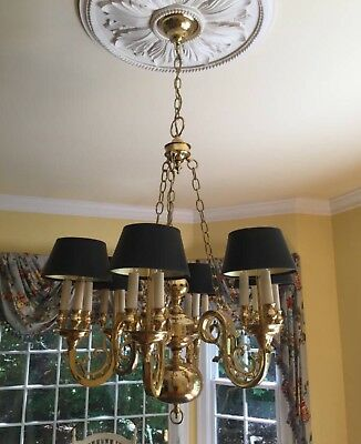 """Stately Vintage Colonial Brass Bouillotte Chandelier 27"""" wide - 2 Available"""