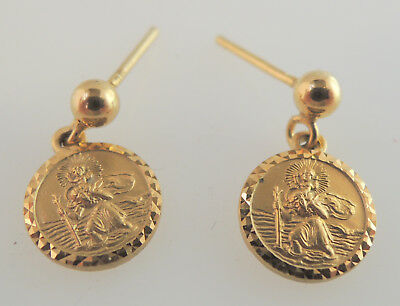 George Jensen St Christopher 9ct Gold Earrings