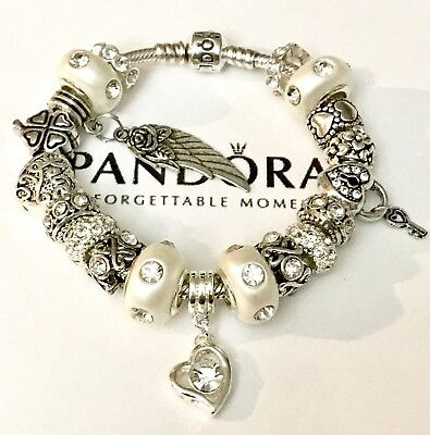 Authentic Pandora Sterling Silver Bracelet With European Charms A Love Story!