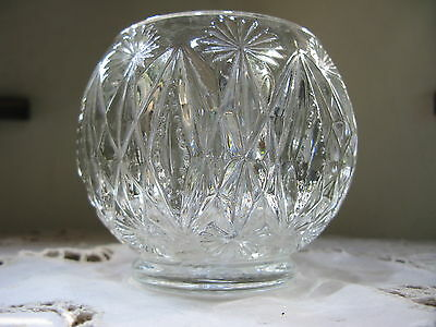 Vintage Avon Candle Holder Votive Heavy Clear Glass Vanity Jar