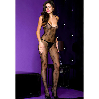 Music Legs Crotchless bodystocking with spaghetti straps - Bodystocking & Catsui