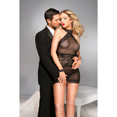 Music Legs High cut neckline chemise with lace trim - Sexy clothes