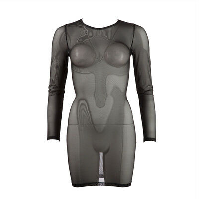 Cottelli Collection Transparent Long Sleeve Dress - Sexy clothes