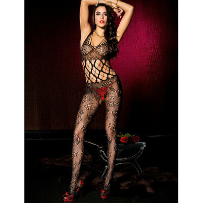 Music Legs Shredded strap floral lace crotchless bodystocking - Bodystocking & C