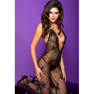 Music Legs Lace bodystocking with cross back strap - Bodystocking & Catsuit