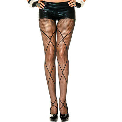 Music Legs Fishnet pantyhose with crossed straps - Bodystocking & Catsuit