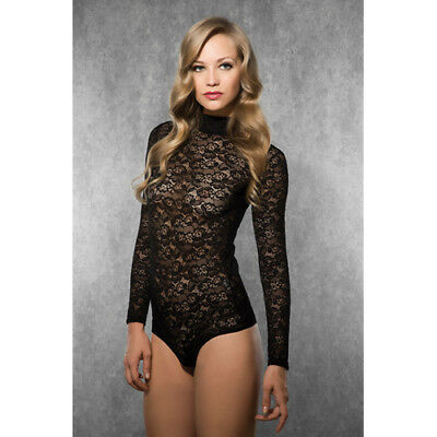 Doreanse Ladies Long Sleeved Lace Body - Black - Body & Babydolls