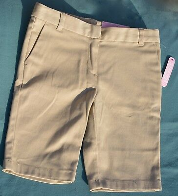 NEW CHAPS Girls/KHAKI/Sz 6x Regular/School Uniform/Shorts/Stretch Skinny Bermuda