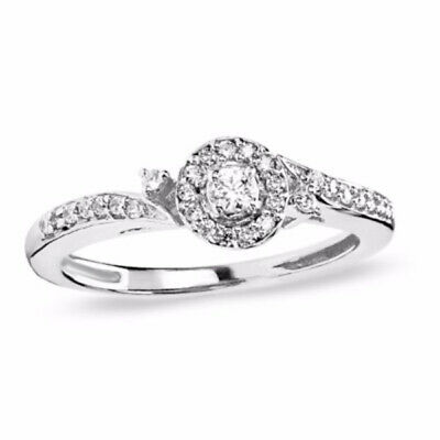 1/5 ct Natural Diamond Frame Bypass Engagement Ring in 10K White Gold
