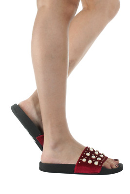 Pearl Studded Slides Women Early-3-08 Anna Footwear Burgundy