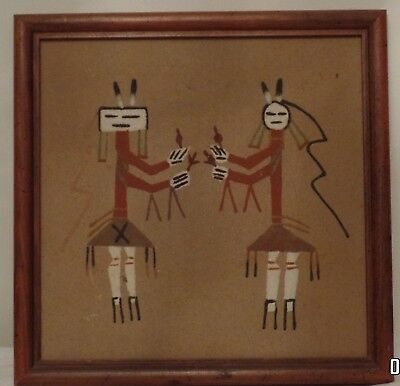 Vintage Native American Indian Sand Painting Rainbow People GODS Signed YAZZIE