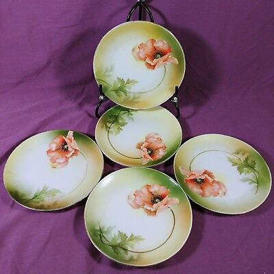ac Set of 5 Decorative Floral Plates Marked GERMANY Pink Flower Peony
