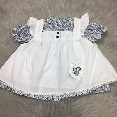 Vintage Baby Girls 2 Piece White Navy Floral Apron Pinafore Top