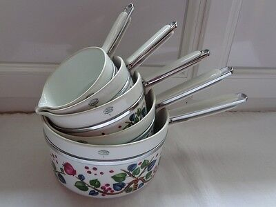 Serie De 5 Casseroles Porcelaine Frugier Aluminite Limoges Decor Feuillages