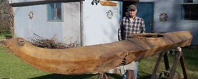 "Rare Antique 19th century Eskimo King Island Kayak 14'-6"" long Inuit Hide Canoe"