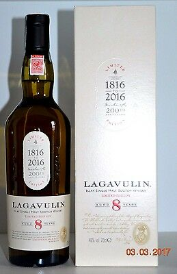 Single Islay Malt Scotch Whisky LAGAVULIN 8 years old 200th 2016  70cl with box