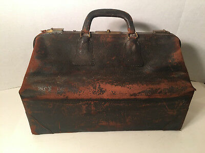 Antique Leather Doctors Bag Late 1800s to early 1900s Walrus Leather