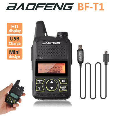 1x Baofeng BF-T1 Mini 2 Way Radio Walkie Talkie + Earpieces + Programming Cable