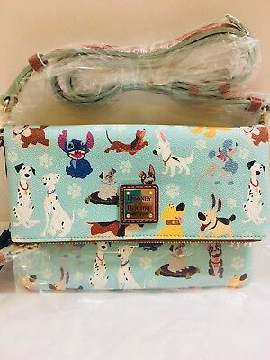 NEW Disney  Dooney & Bourke 'Disney Dogs Foldover Zip Crossbody Bag