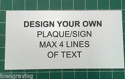 Laser Engraved Custom Sign/Plaque - Design your own 120mmx60mm