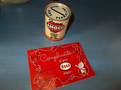 VINTAGE 1950 PENN AMOCO OIL Advertising Oil Can Bank Gas & ESSO NEEDLE Card