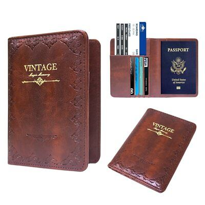 Leather US PASSPORT COVER Organizer Travel Wallet Holder Money Case and Cards