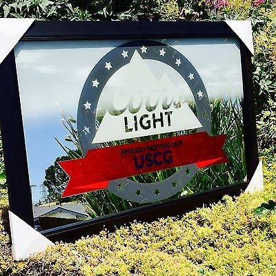 """Coors Light U.S. Coast Guards Armed Forces Military  Beer Bar Mirror """" New"""""""