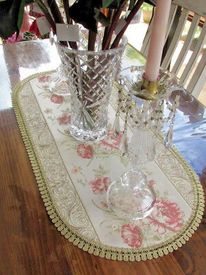 Gorgeous Shabby Victorian Style Rose Embroidered Lace Edged Table Runner