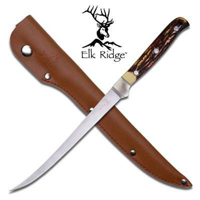 Elk Ridge Fillet Stag Stainless Full Tang Hunting Fishing Knife + Sheath 146