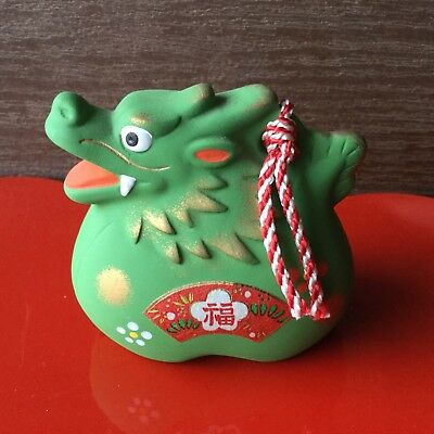 "Lucky Charm Dorei Japanese Clay Bell Hand Painted Zodiac Green Dragon 2-1/2""T"