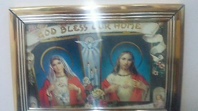 Jesus And Mary  ''god Bless  Our Home'' Gold Trimmed Frame