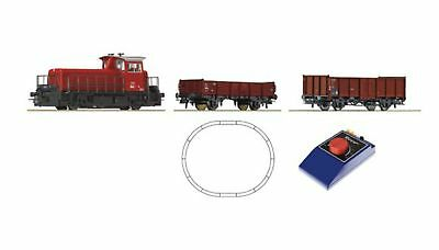 ROCO-51155(d)-Analogue Starter Set small diesel locomotive with freight cars (HO