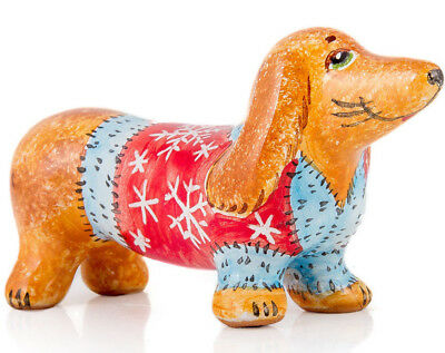 SUPERSALE Cute Puppy Figurine in Christmas Sweater Dog Sculpture Dachshund Pup
