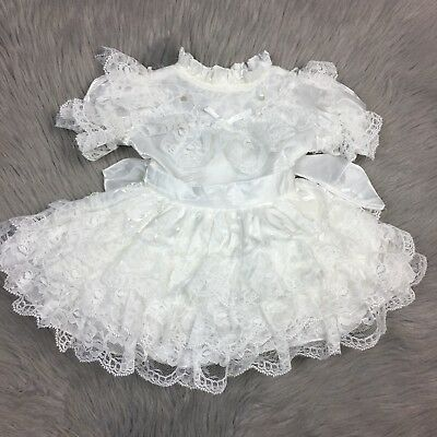 Vintage Baby Toddler Girls White Ivory Lace Ruffle Party Bow Dress