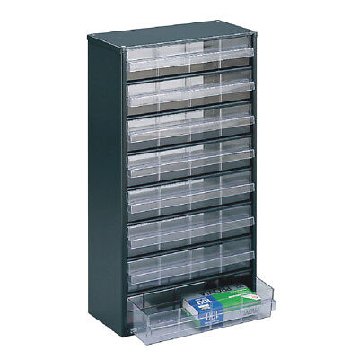 Storage Cabinet Clear 8 Drawer System Dark Grey 324234