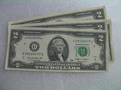 Year 2009 Series G $2 bill two dollar bank note Federal Reserve USA uncirculated