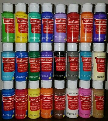 24 Craft Smart Acrylic Paint Bottles 2 Fl.Oz Set Art Supplies Priority Mail NEW